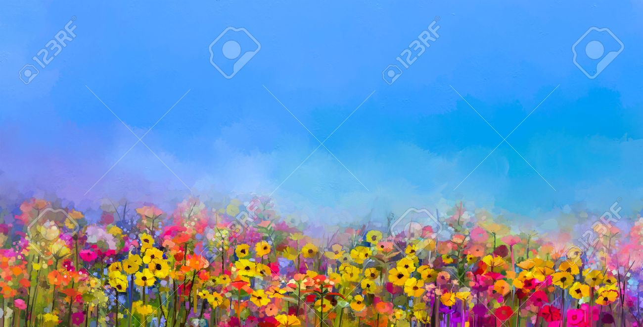 Abstract Art Oil Painting Of Summer Spring Flowers Cornflower