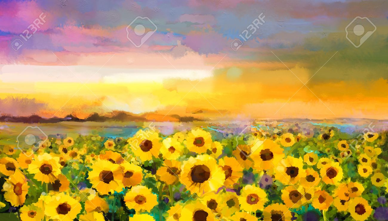 Oil Painting Yellow Golden Sunflower Daisy Flowers In Fields