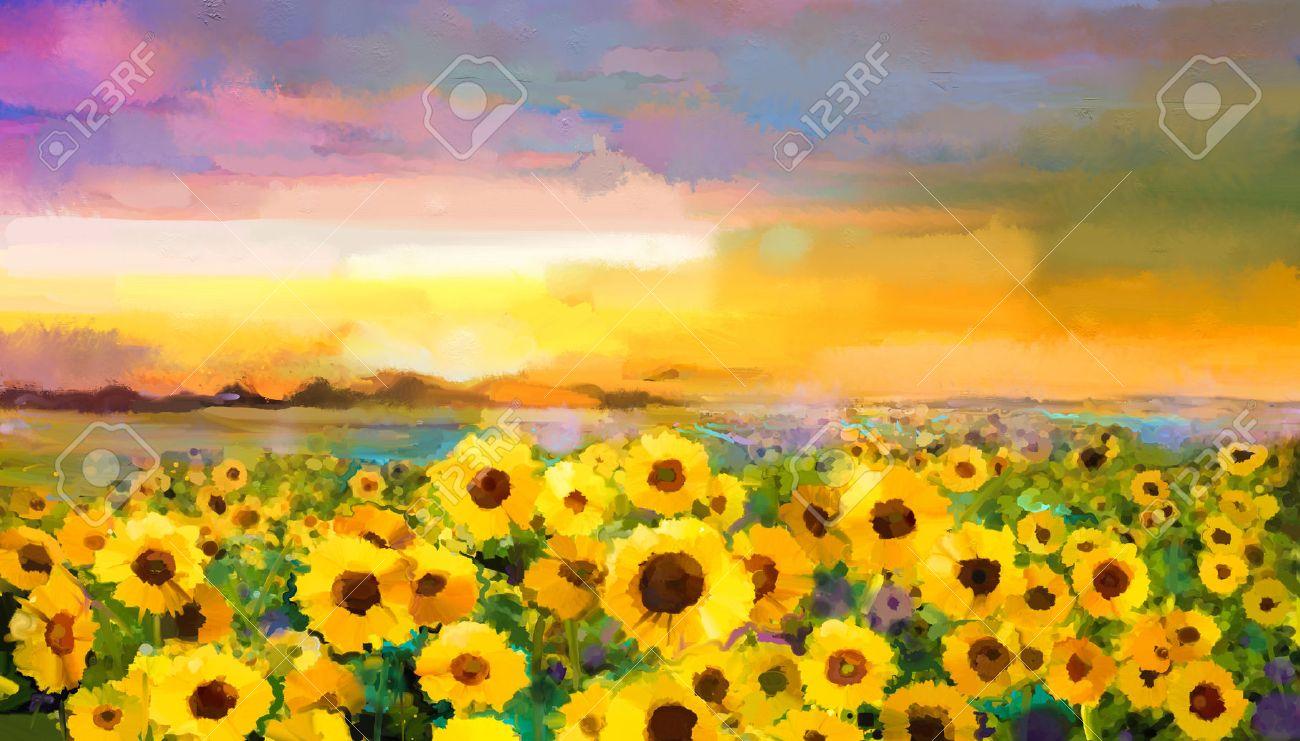 Peinture à L'huile Tournesol Jaune Doré,