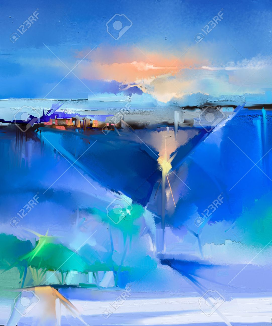 Abstract colorful oil painting landscape on canvas. Semi- abstract image of tree, hill and green, blue field with sunlight and blue sky. Spring season nature background - 52536517