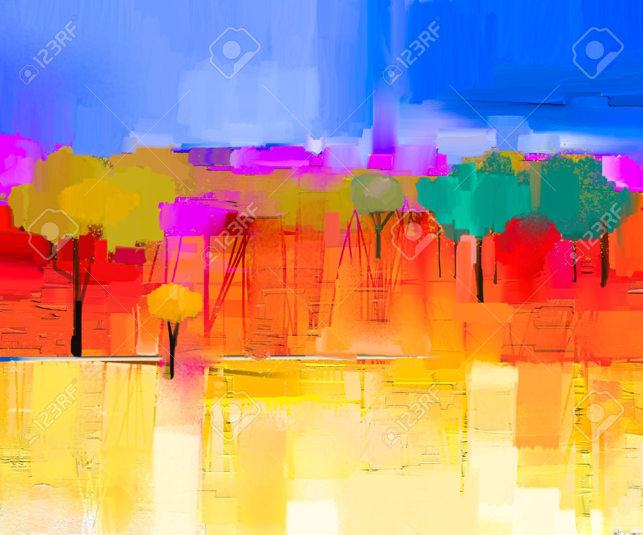 Abstract colorful oil painting landscape on canvas. Semi- abstract image of tree and field in yellow and red with blue sky. Spring season nature background - 52536602