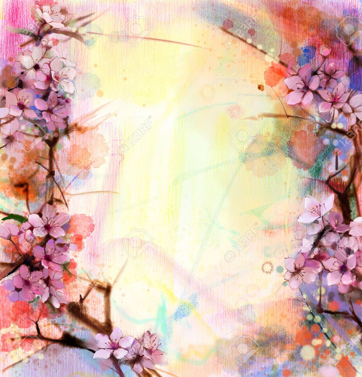 watercolor painting cherry blossoms japanese cherry pink sakura floral in soft color over blurred