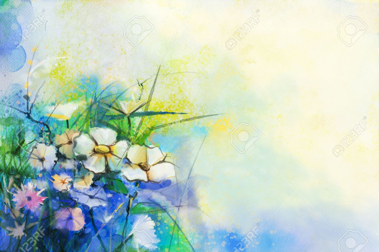 Abstract flower watercolor painting. Hand paint White and soft Yellow, Pink, Red color of meadow flowers in soft color on blue, green color background. Spring floral, Wild flowers seasonal nature - 52594897