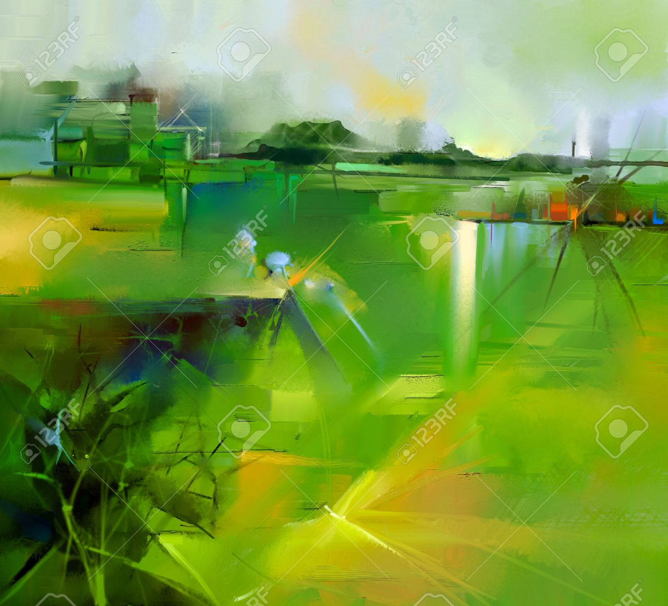 Abstract colorful yellow and green oil painting landscape on canvas. Semi- abstract image of tree, hill and flowers meadow (field) with gray sky. Spring,Summer season nature background - 52594900