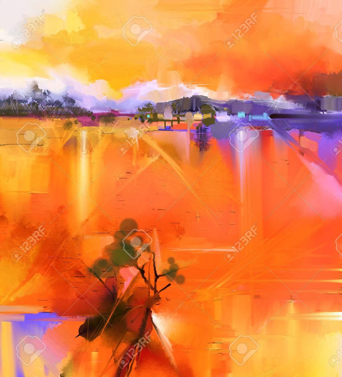Paysage Abstrait Jaune Et Rouge Coloré Peinture