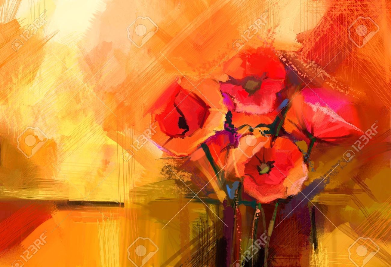 Abstract oil painting still life of red poppy flower colorful abstract oil painting still life of red poppy flower colorful bouquet of spring flowers with mightylinksfo
