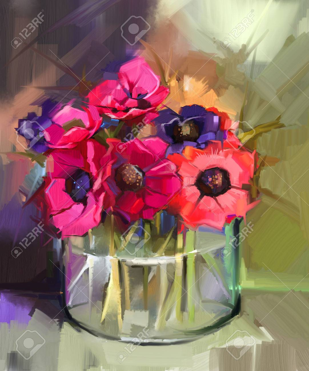 Still life a bouquet of flowers oil painting red anemones flower still life a bouquet of flowers oil painting red anemones flower in glass vase izmirmasajfo