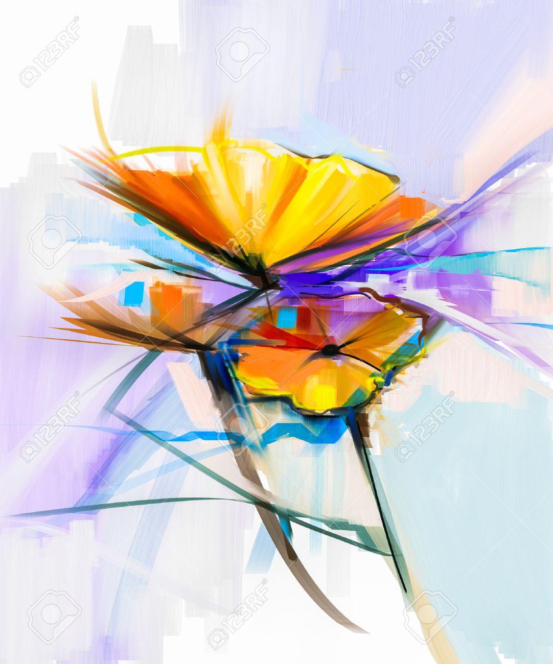 Peinture à Lhuile Abstraite De Fleurs Printanières Nature Morte De