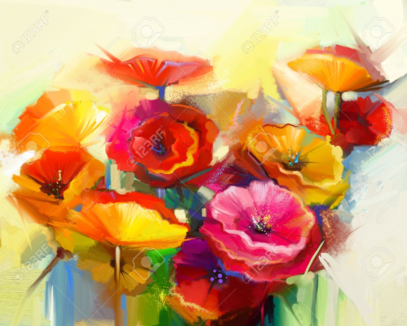 Abstract oil painting of spring flower still life of yellow abstract oil painting of spring flower still life of yellow pink and red poppy mightylinksfo