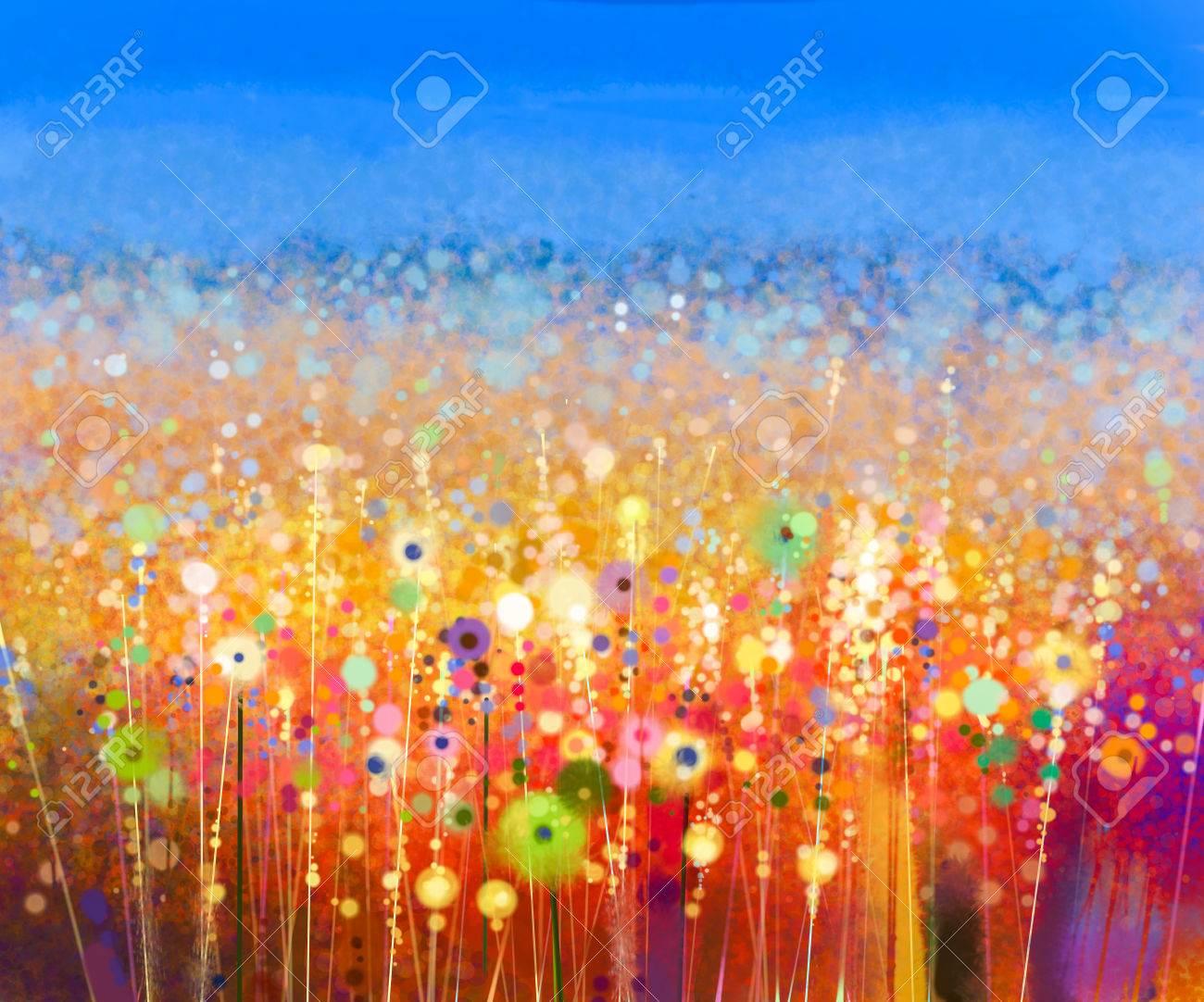 Peinture Abstraite D'aquarelle De Champ De Fleurs. Peint à La Main Des  Fleurs Rouges Jaunes En Couleur Douce Avec Fond De Ciel Bleu. Peintures  Florales Abstraites Dans Les Prés. Printemps Fleur Nature