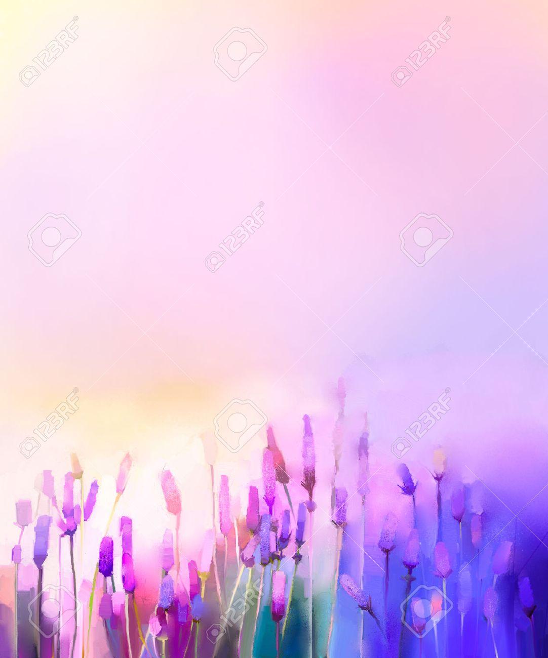 Couleur Lavande Peinture peinture à l'huile de fleurs de lavande violette dans les prés