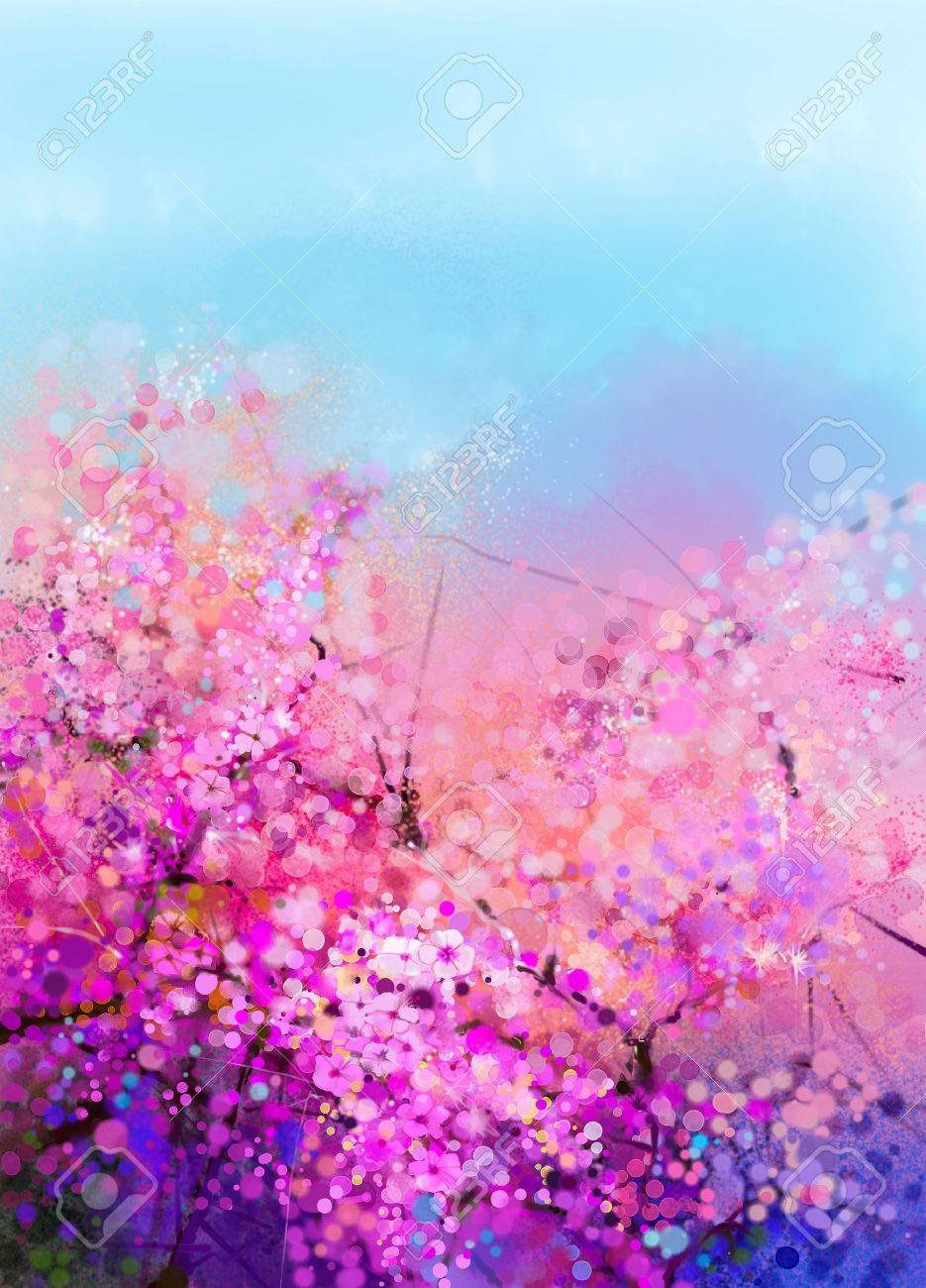 Watercolor painting cherry blossoms japanese cherry sakura 55157487 watercolor painting cherry blossoms japanese cherry sakura floral with blue sky pink flowers in softg mightylinksfo