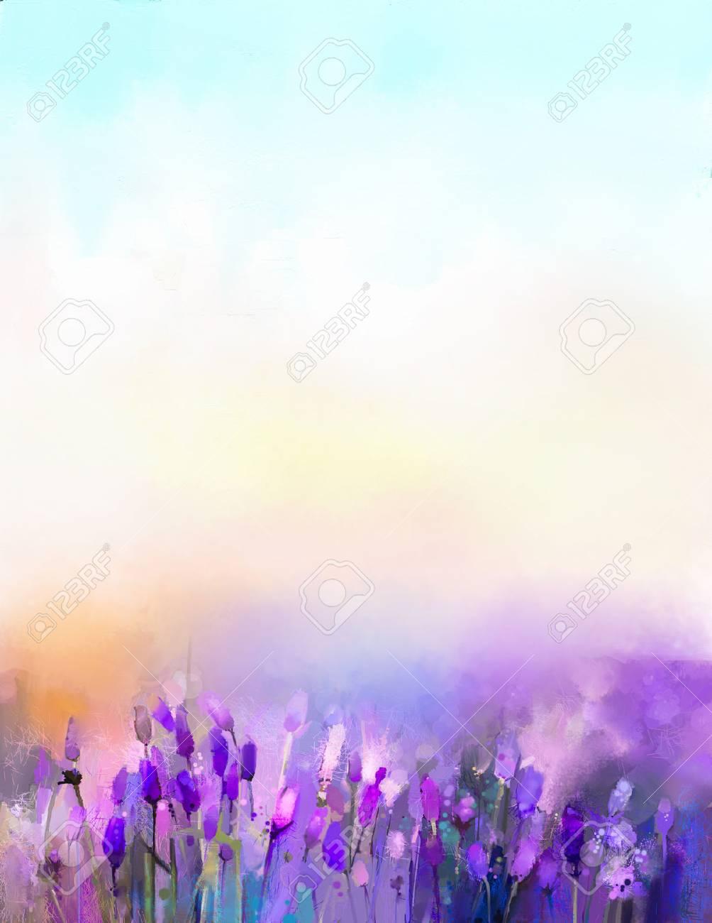 Couleur Lavande Peinture fleurs de lavande de peinture à l'huile dans les prés. résumé soleil