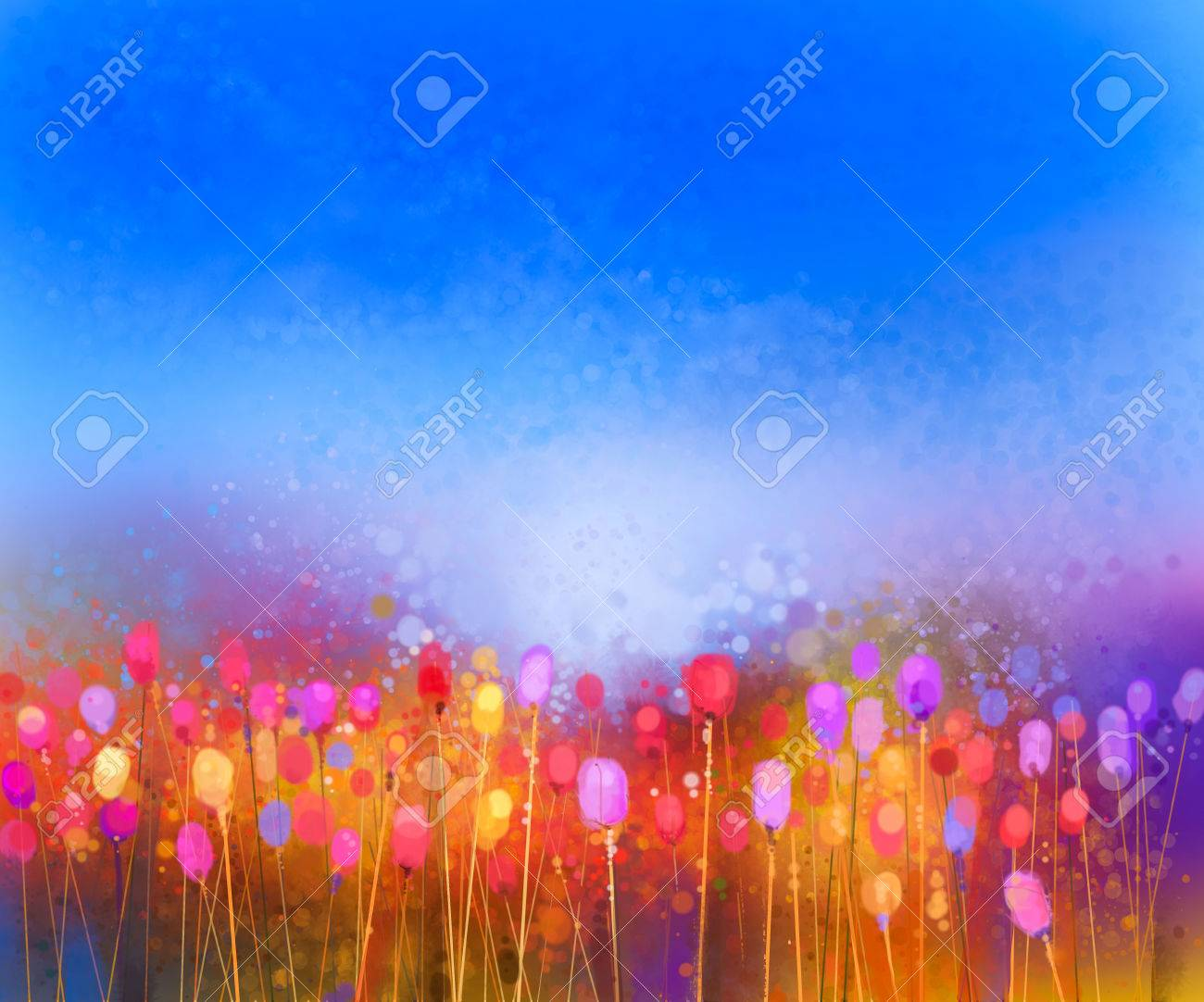 Abstract tulip flower field watercolor painting. Hand painted yellow red flowers in soft color with blue sky. Abstract floral paintings in the meadows. Spring flower seasonal nature background - 55157490