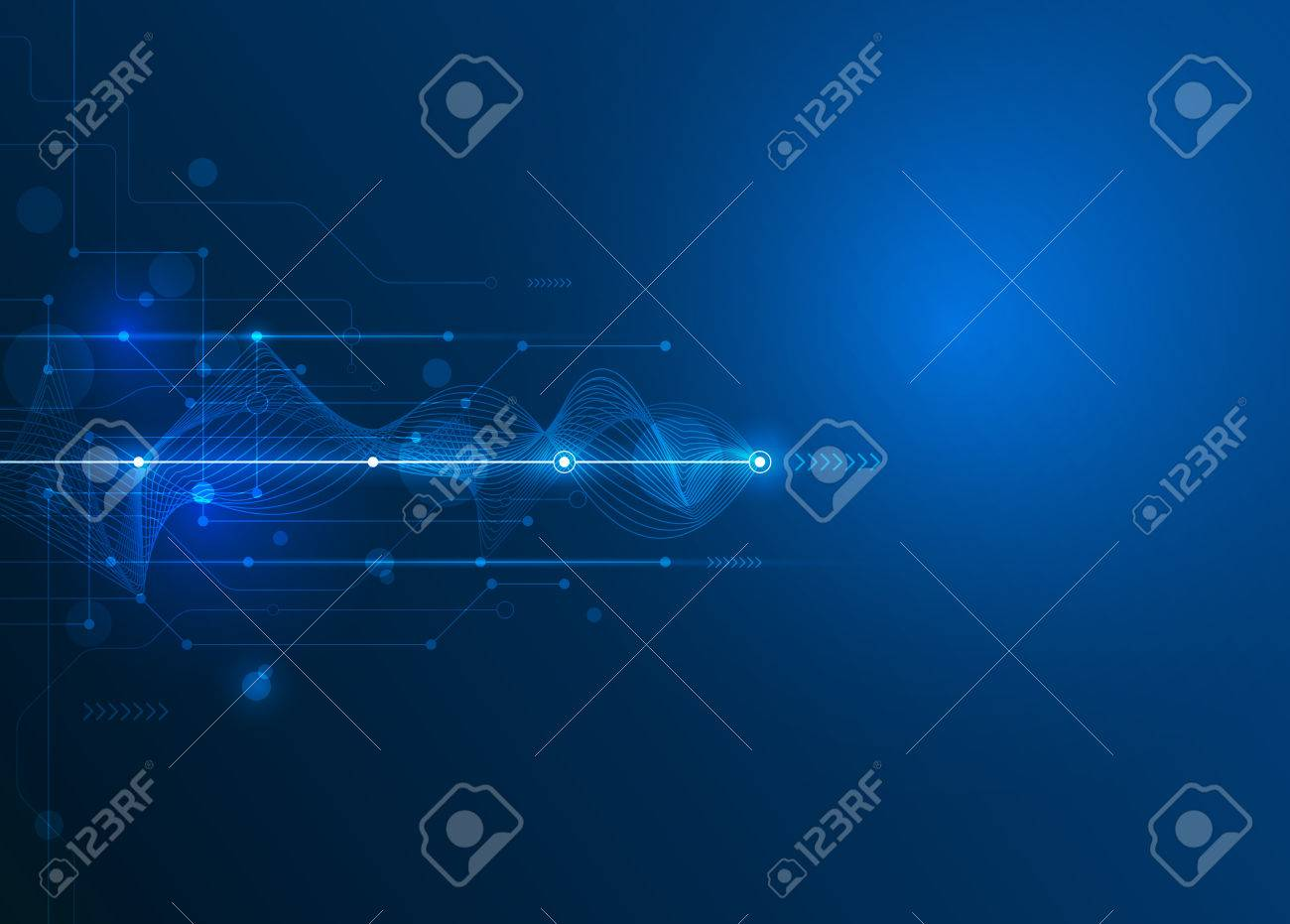 Vector Abstract futuristic circuit board and mesh line, Illustration high computer and Communication technology on blue color background. High tech digital technology,global social media concept - 55157690