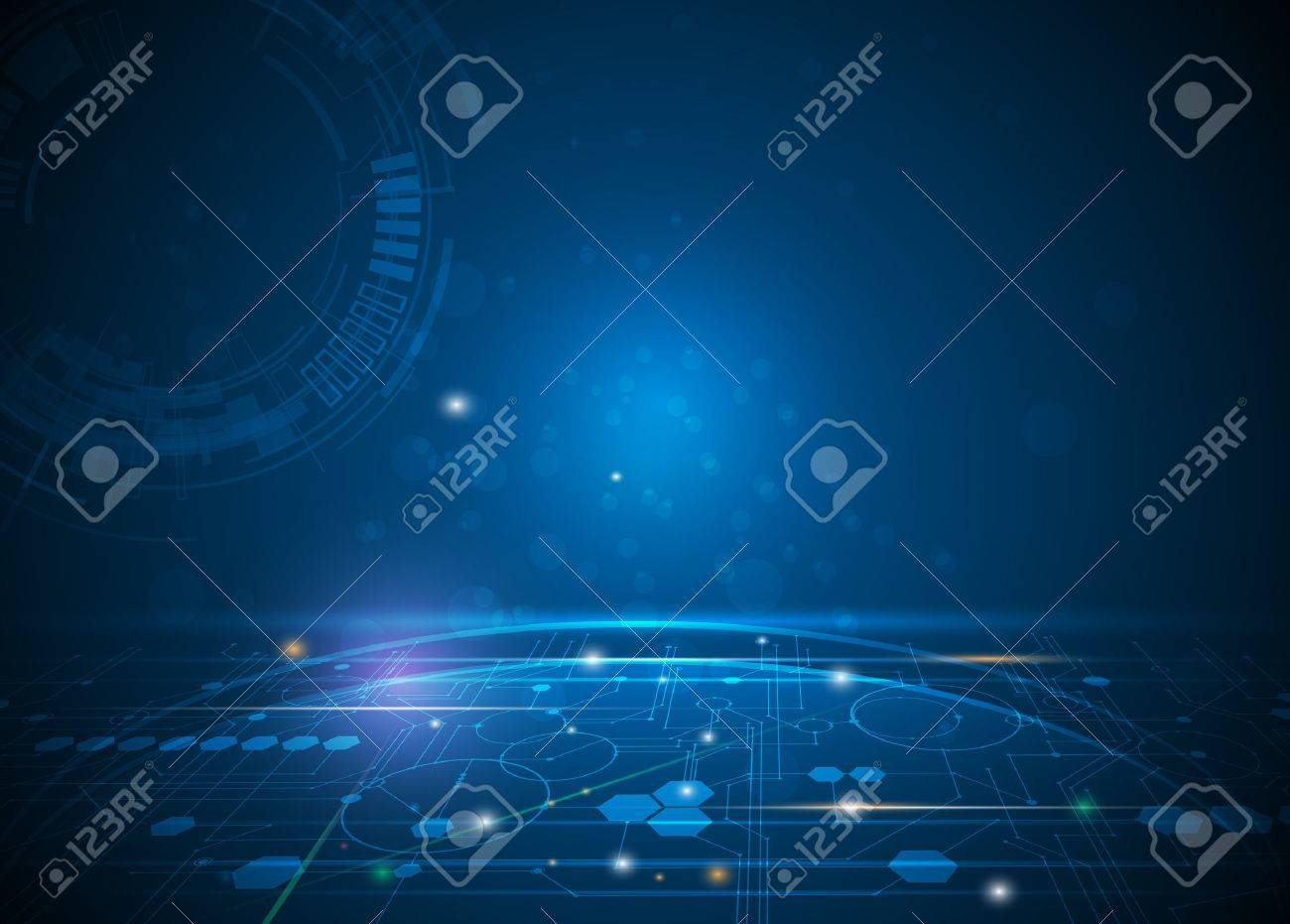 illustration Abstract futuristic hexagons and circuit board, high computer technology, innovation communication concept. Dark blue color background - 55496334