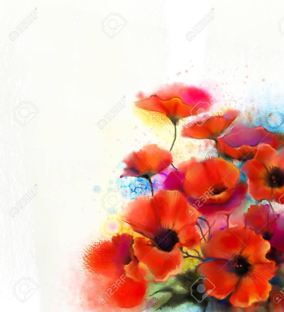 Aquarell Rote Mohnblumenmalerei Hand Malen Mohnblumen Blumen In