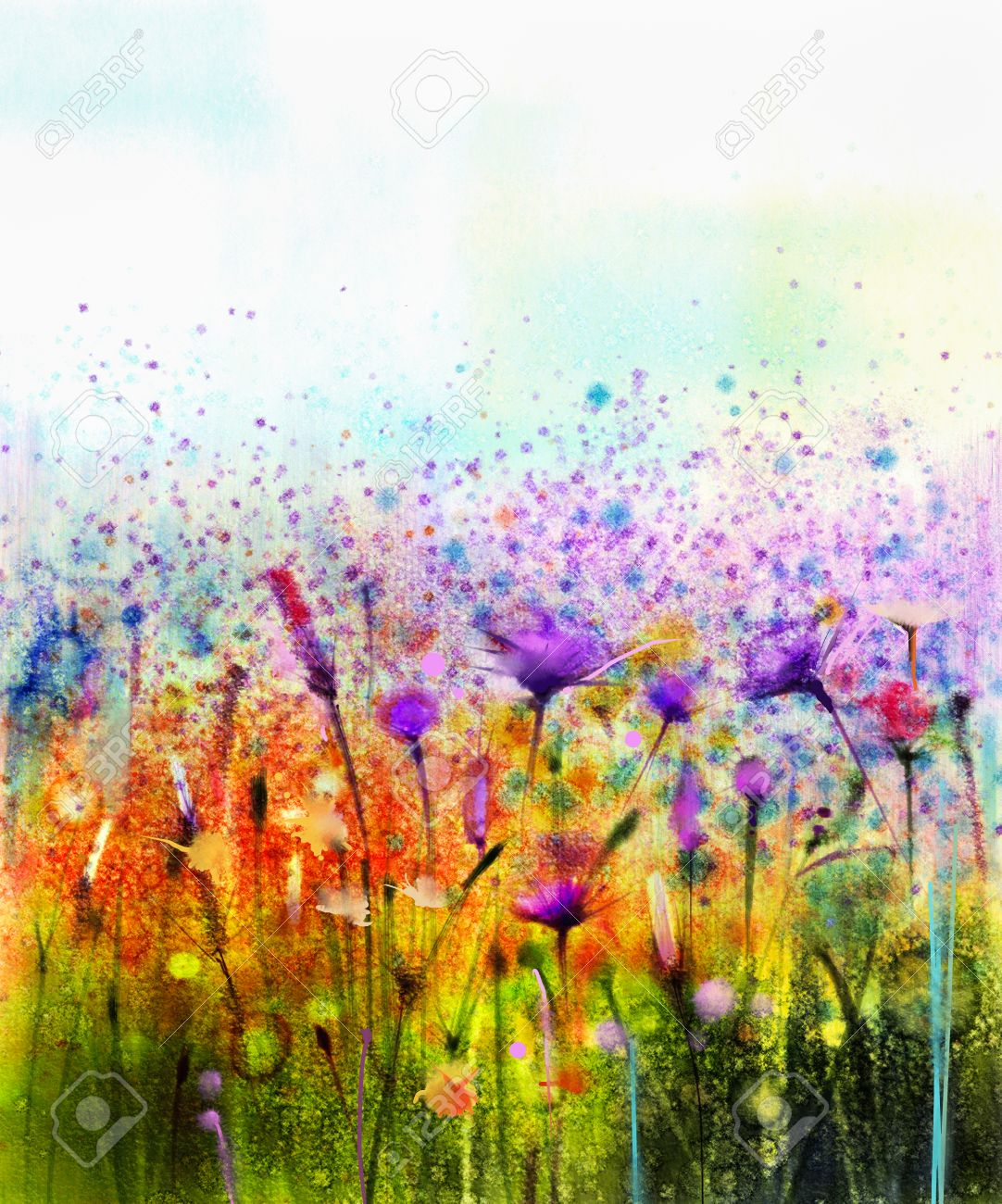 Abstract Watercolor Painting Purple Cosmos Flower Cornflower Stock Photo Picture And Royalty Free Image Image 59852139