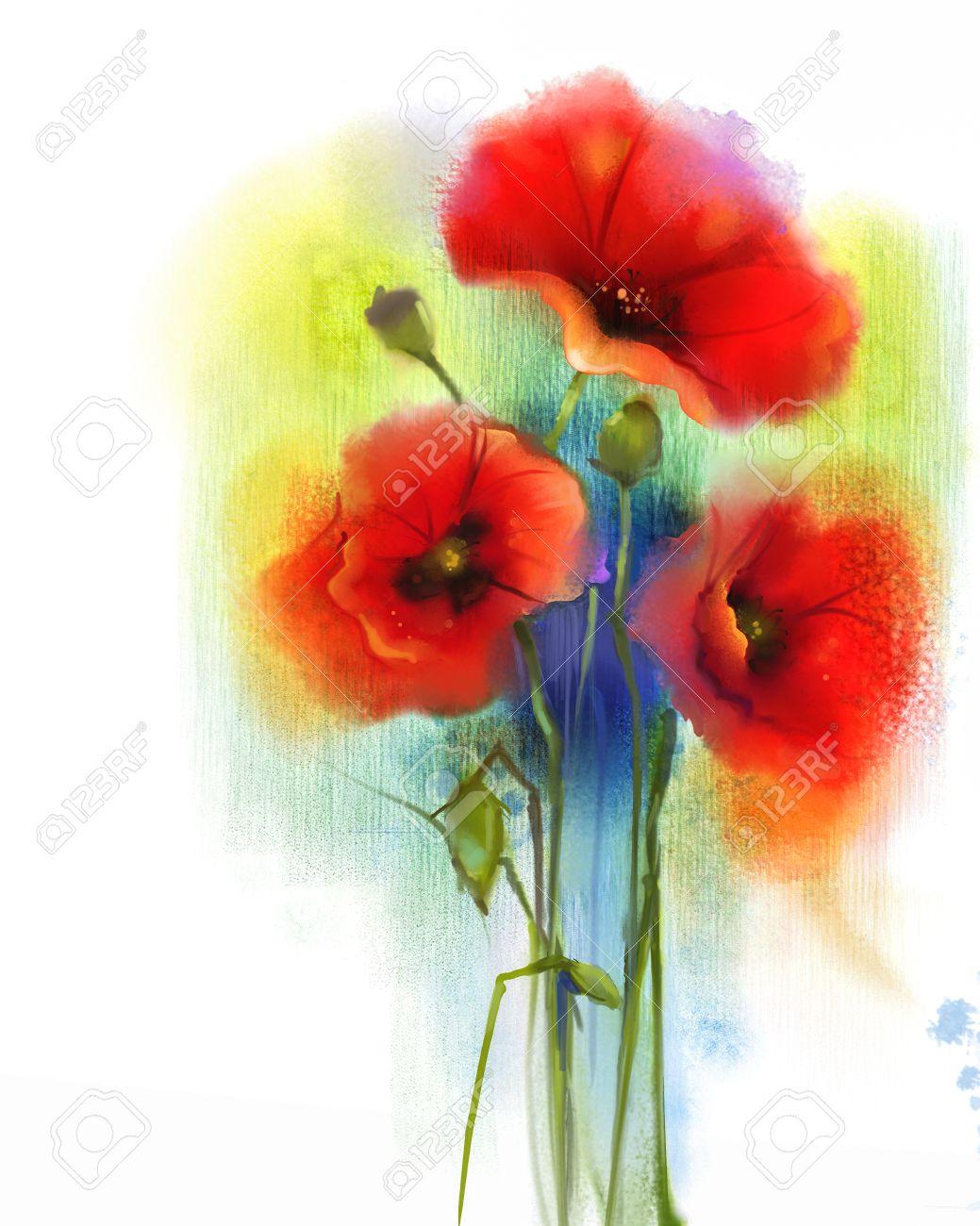 Aquarell Rote Mohnblumenmalerei. Hand Malen Mohn Blumen In Sanften ...