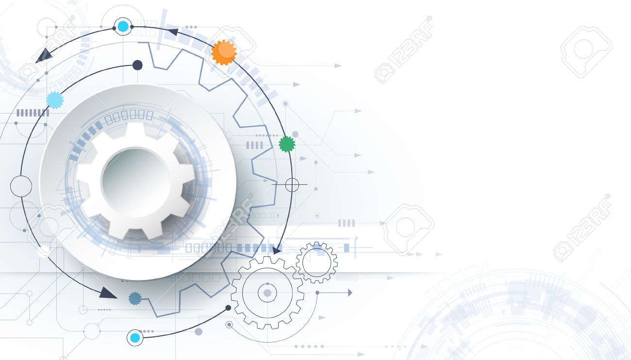 futuristic technology background, 3d white paper gear wheel on circuit board. Illustration hi-tech, engineering, digital telecoms concept. With space for content, web template, business tech presentation. - 59853411