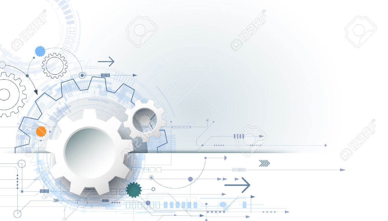 Futuristic Technology Background, 3d White Paper Gear Wheel On ...
