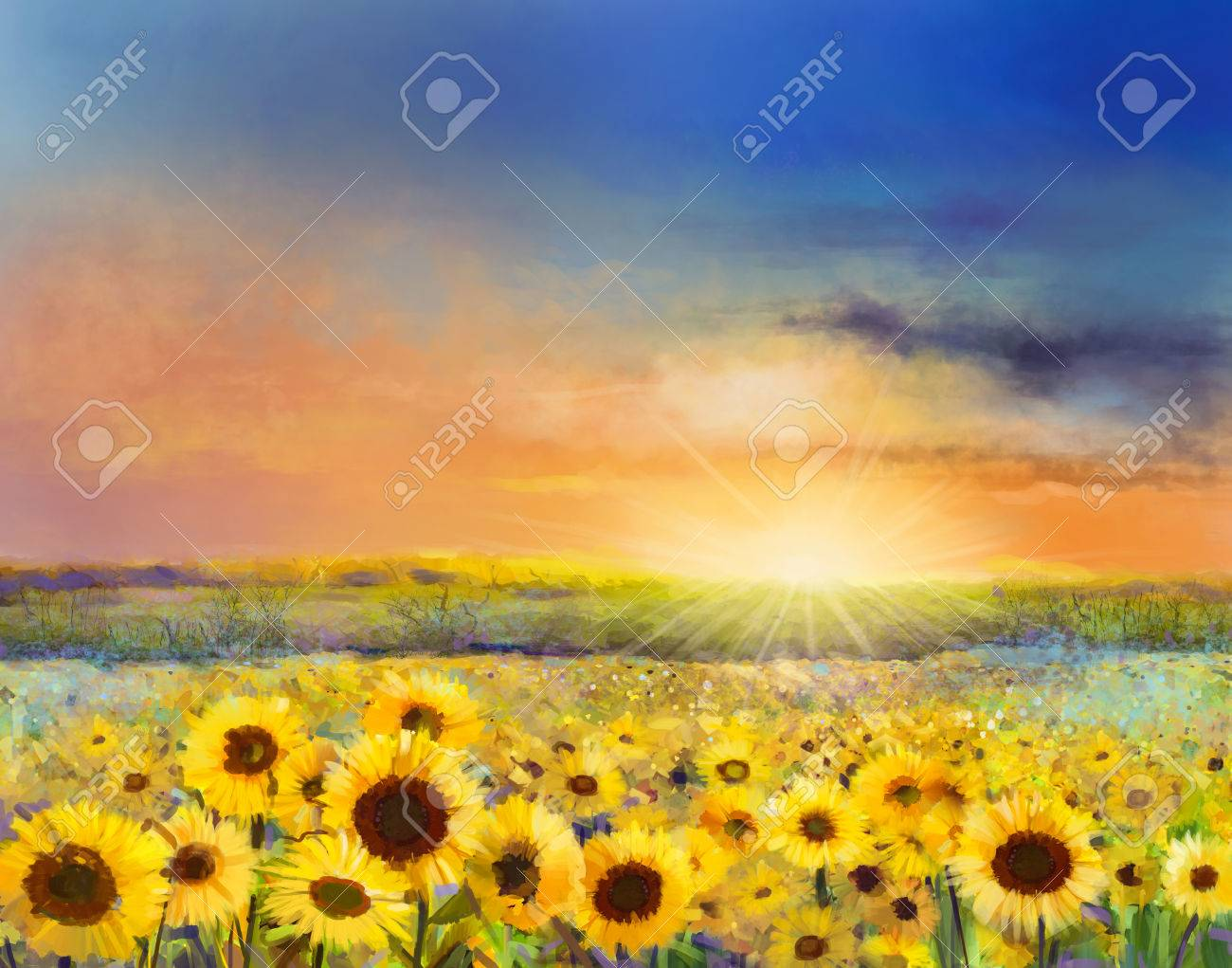 Sunflower flower blossom.Oil painting of a rural sunset landscape with a golden sunflower field. Warm light of the sunset and hill color in orange and blue color at the background - 61621255