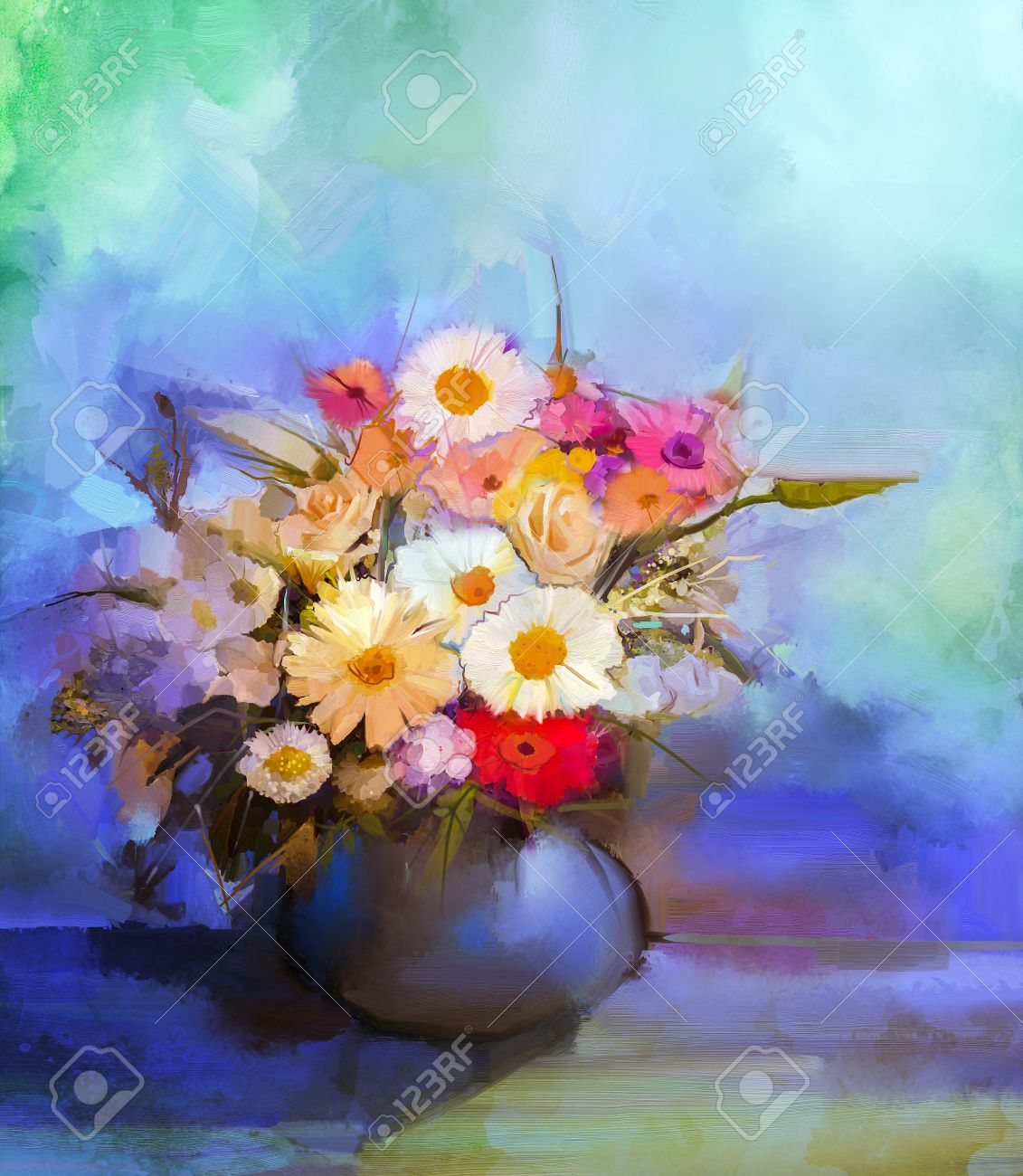 Oil Painting Flowers In Vase. Hand Paint Still Life Bouquet.. Stock ...