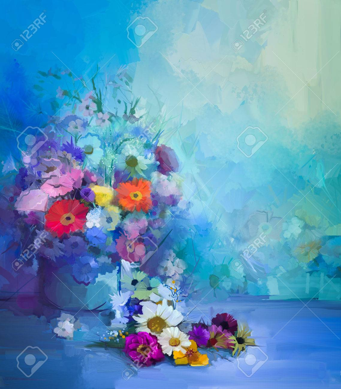 Oil Painting Flowers In Vase Hand Paint Still Life Bouquet