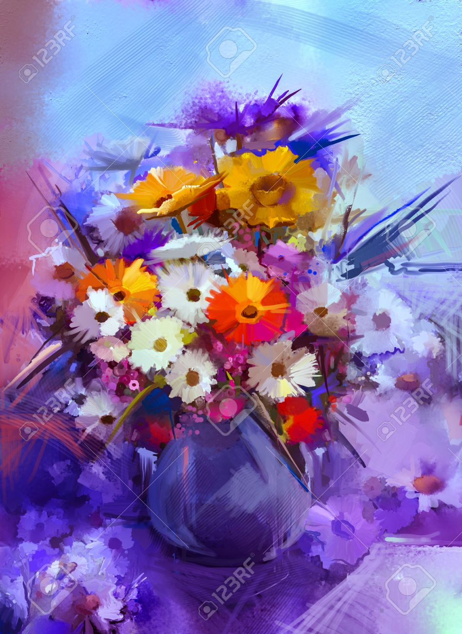 Oil Painting Flowers In Vase Hand Paint Still Life Bouquet Of WhiteYellow And