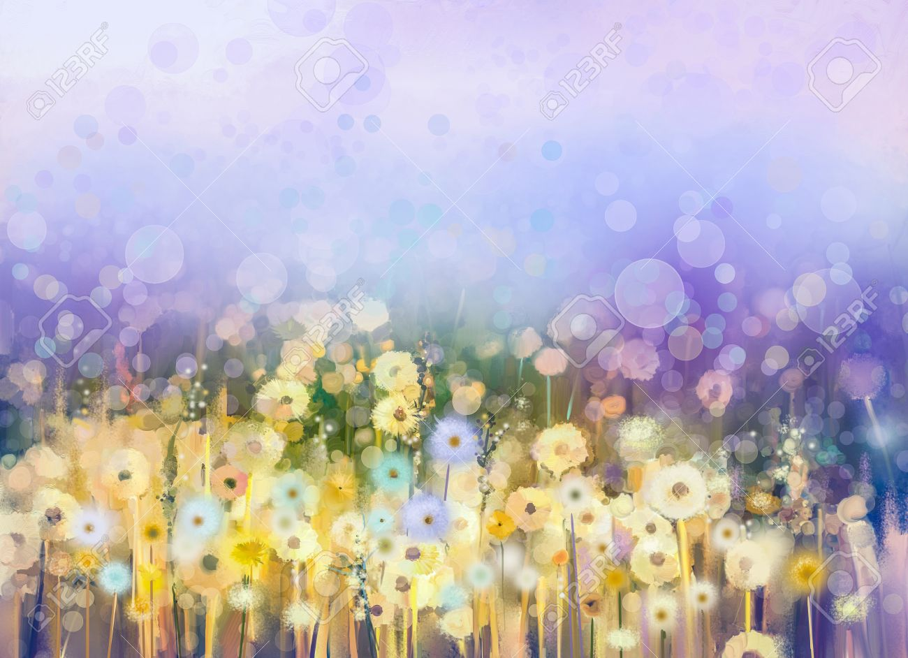Abstract oil painting flowers plant. Dandelion flower in fields. Meadow landscape with wildflower. Purple,Blue sky color with bokeh. Hand Paint floral Impressionist. Summer-spring nature background. - 61621322