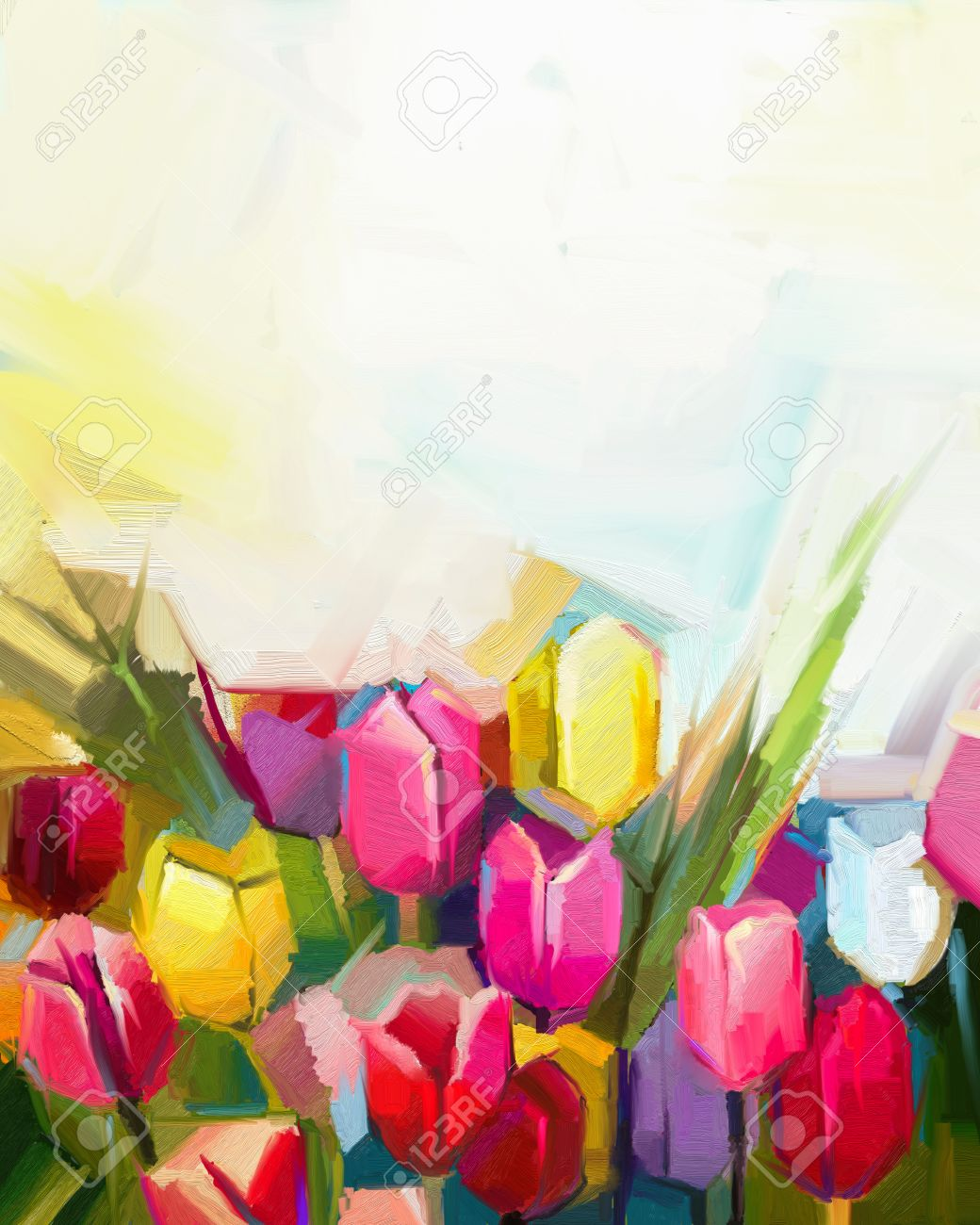 Oil painting tulip flower field hand painted white yellow oil painting tulip flower field hand painted white yellow red flowers in soft mightylinksfo