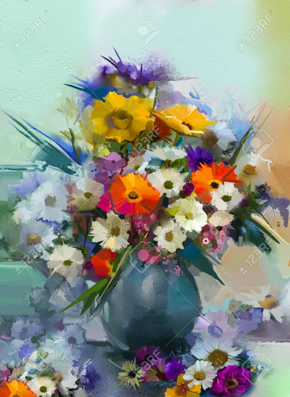123RF.com & Oil painting flowers in vase. Hand paint still life bouquet..