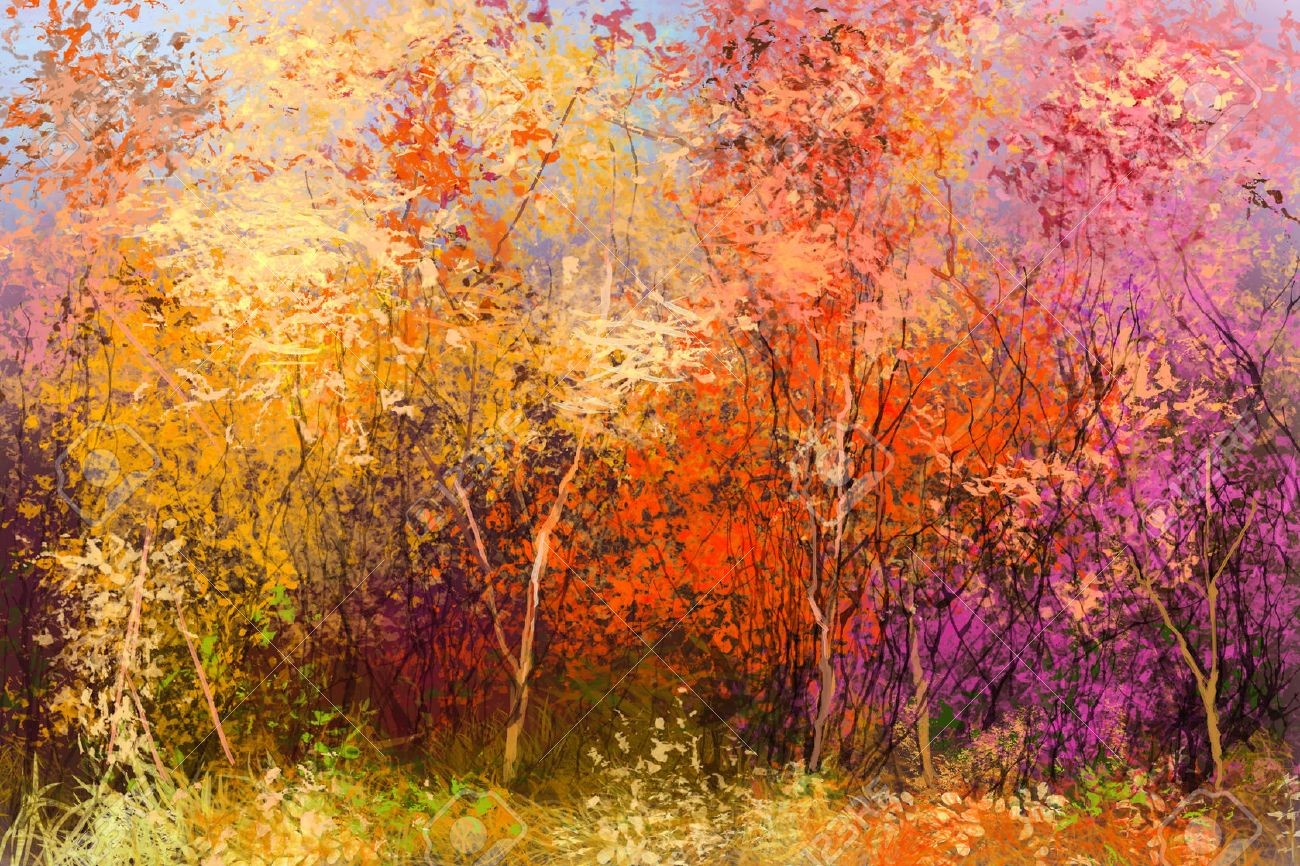 Oil painting landscape - colorful autumn trees. Semi abstract image of forest, trees with yellow - red leaf. Autumn, Fall season nature background. Hand Painted Impressionist style. - 61621413