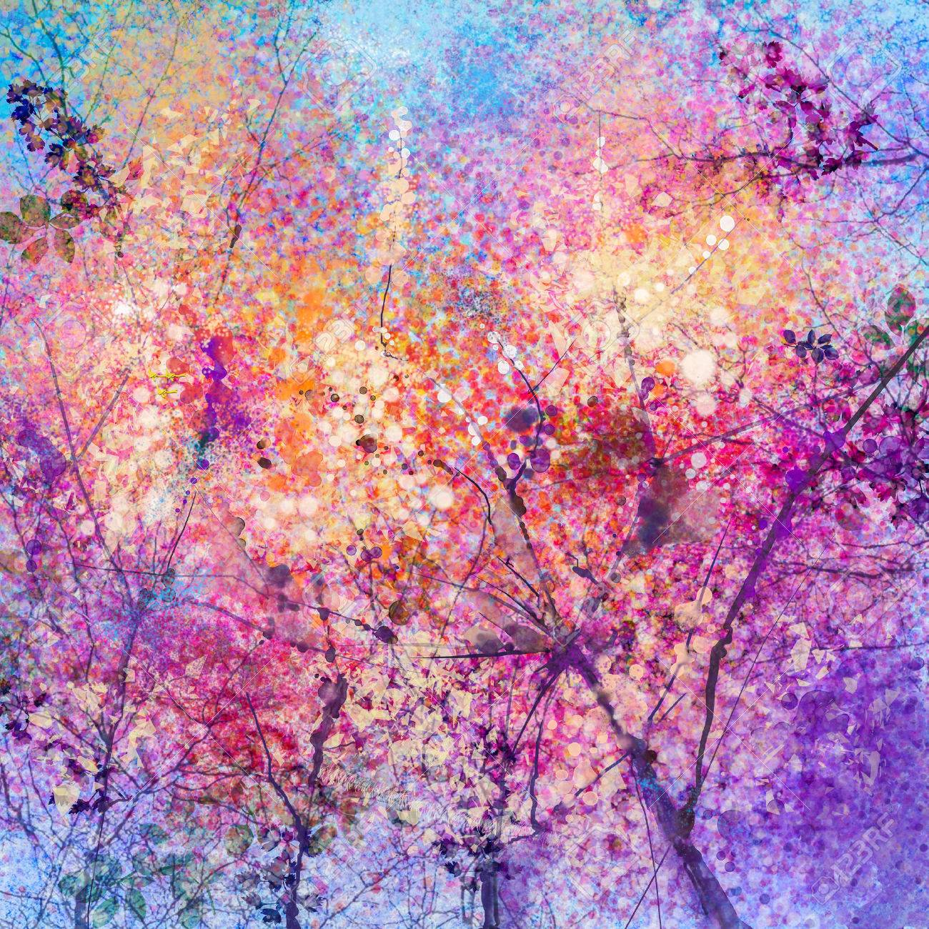 Abstract watercolor painting of spring flowers, nature background. Cherry blossom, pink flowers with blue sky. Hand painted landscape, spring season background - 61621417