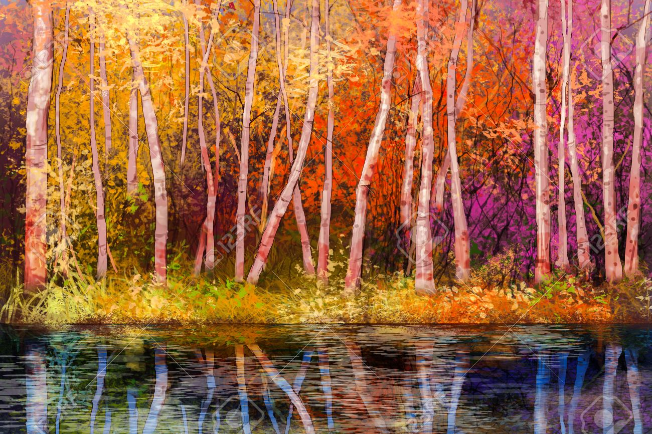 Oil painting landscape - colorful autumn trees. Semi abstract image of forest, trees with yellow - red leaf and lake. Autumn, Fall season nature background. Hand Painted landscape, Impressionist style - 61621477