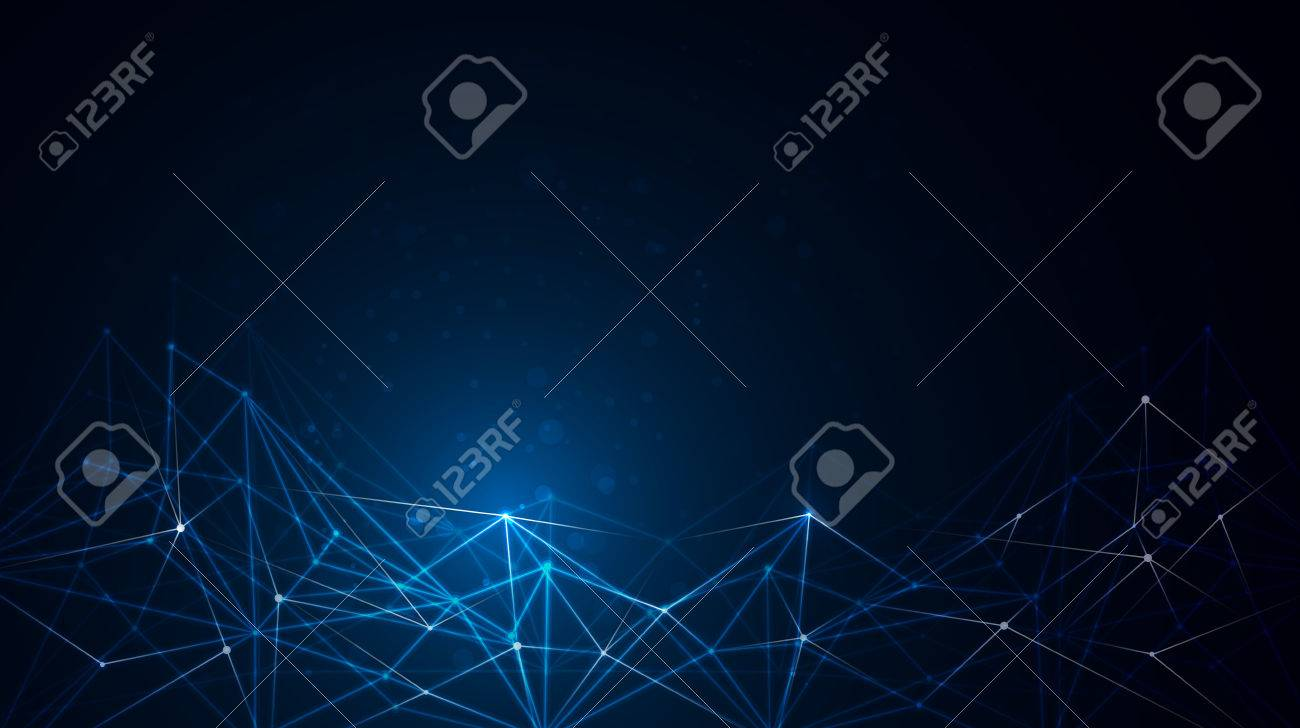 Abstract molecule structure on dark blue color background. Vector illustration of Communication - network for futuristic technology concept. - 64460825