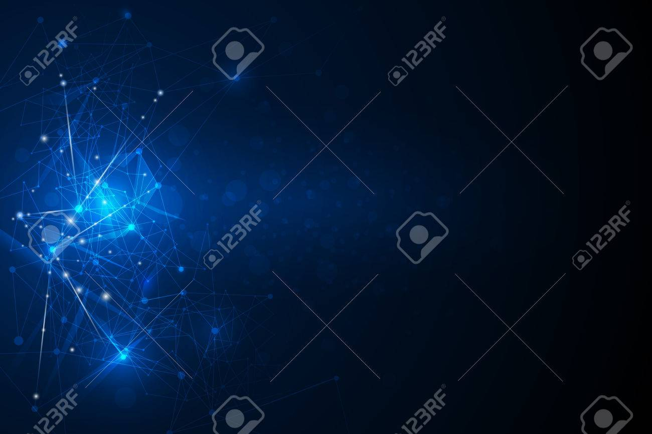 Abstract futuristic - Molecules technology with linear and polygonal pattern shapes on dark blue background. Illustration Vector design digital technology concept. - 64882135