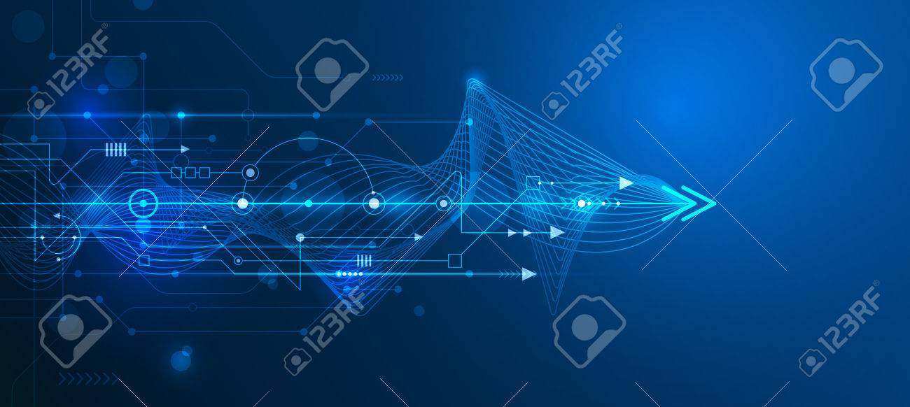 Vector Abstract futuristic circuit board and mesh line, Illustration high computer and Communication technology on blue color background. High tech digital technology,global social media concept. - 64882137