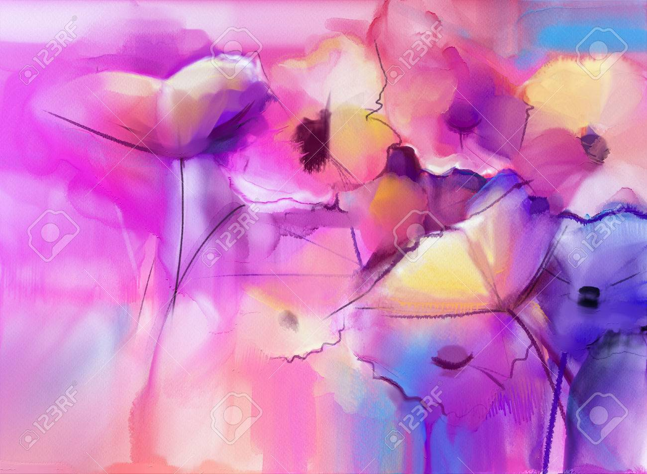 abstract tulip flowers watercolor painting abstract colorful