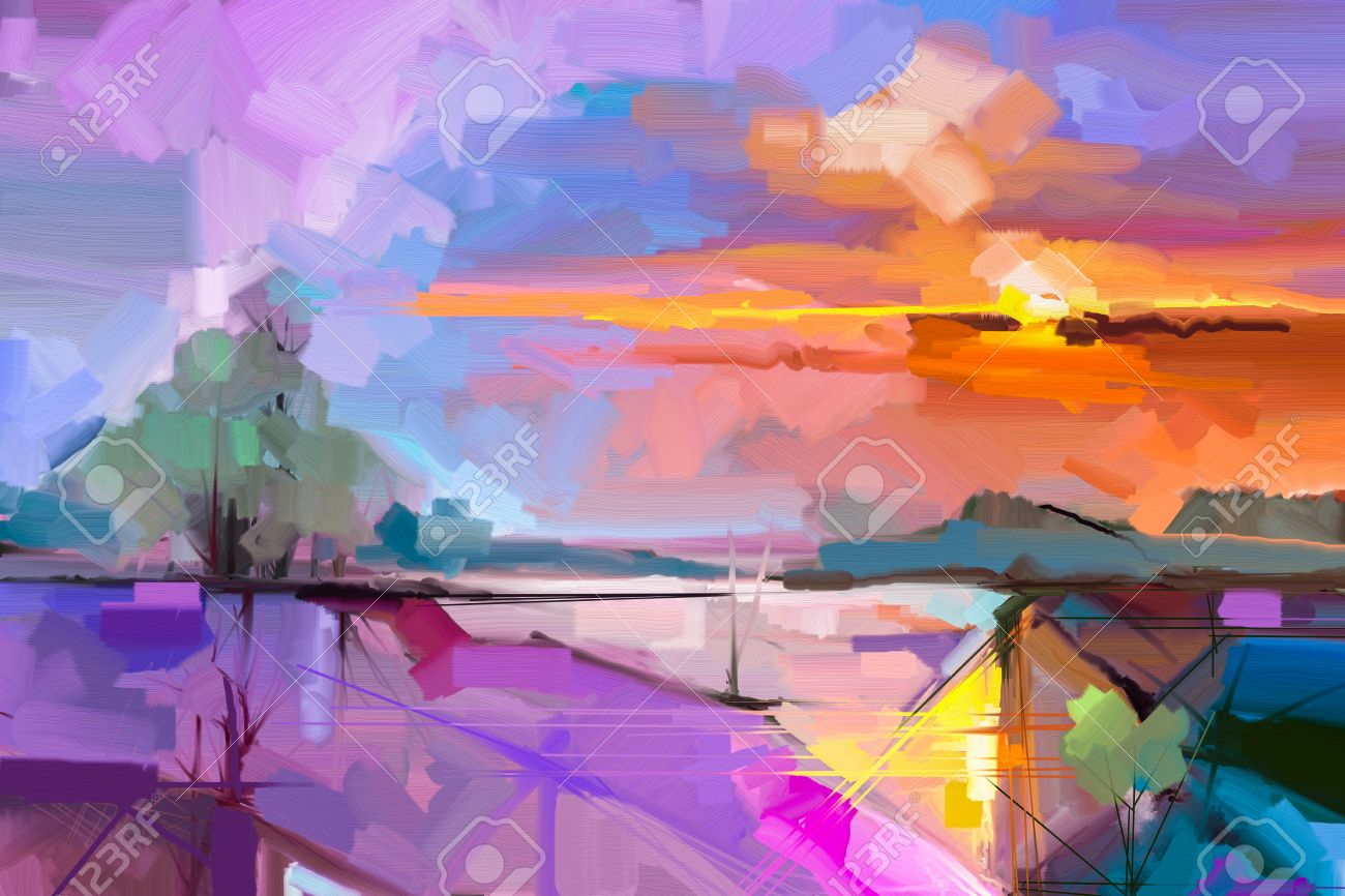 Abstract oil painting landscape background. Colorful yellow and purple sky. oil painting outdoor landscape on canvas. Semi- abstract tree, hill and field, meadow. Sunset landscape nature background - 69728145