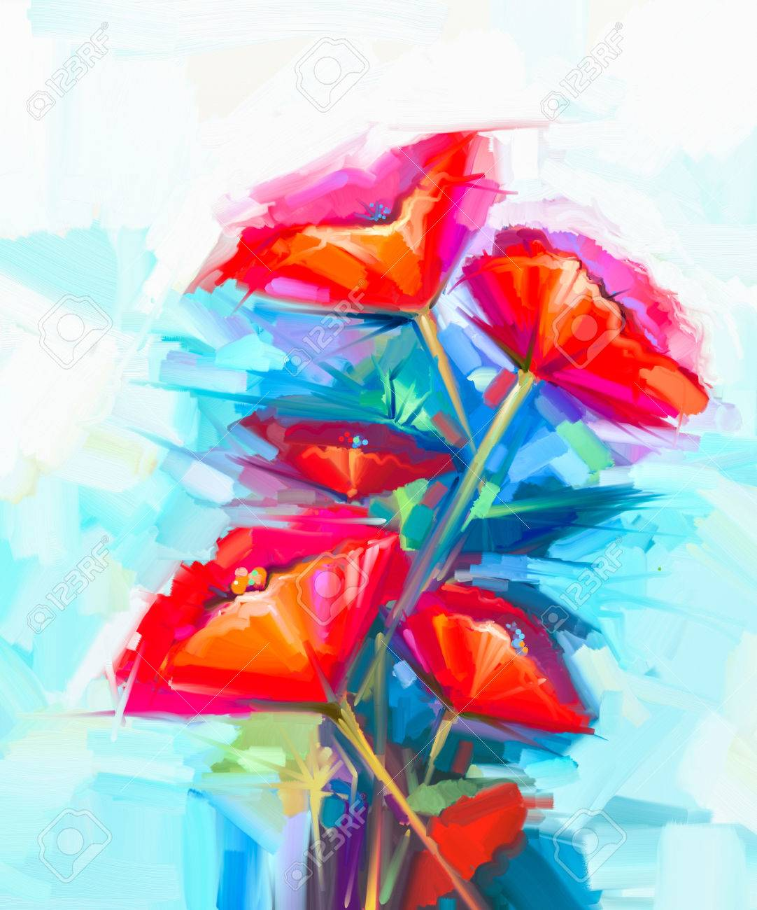 Abstract Oil Painting Of Spring Flower. Still Life Of Pink And ...