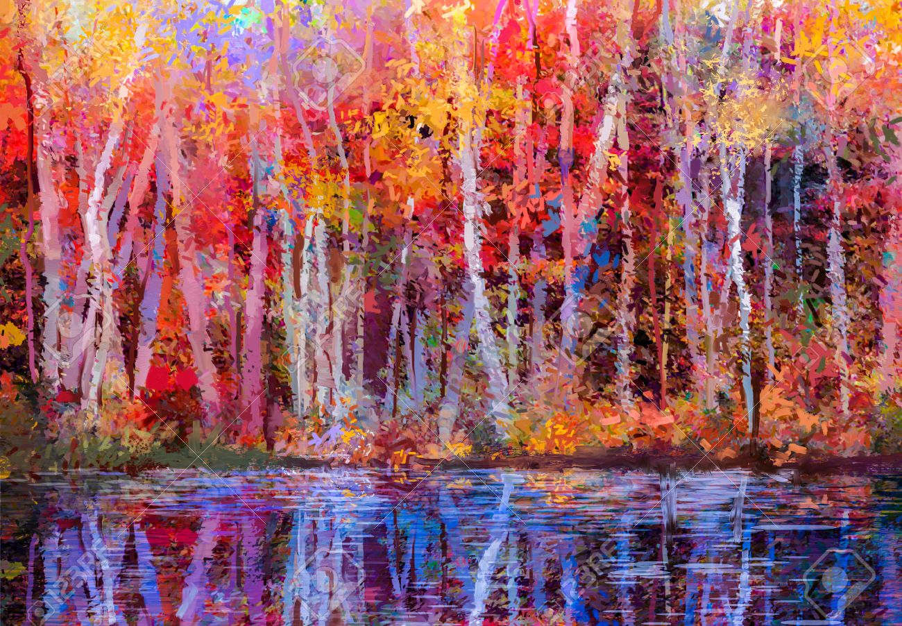 Oil painting colorful autumn trees. Semi abstract image of forest, aspen trees with yellow - red leaf and lake. Autumn, Fall season nature background. Hand Painted Impressionist, outdoor landscape. - 69687825