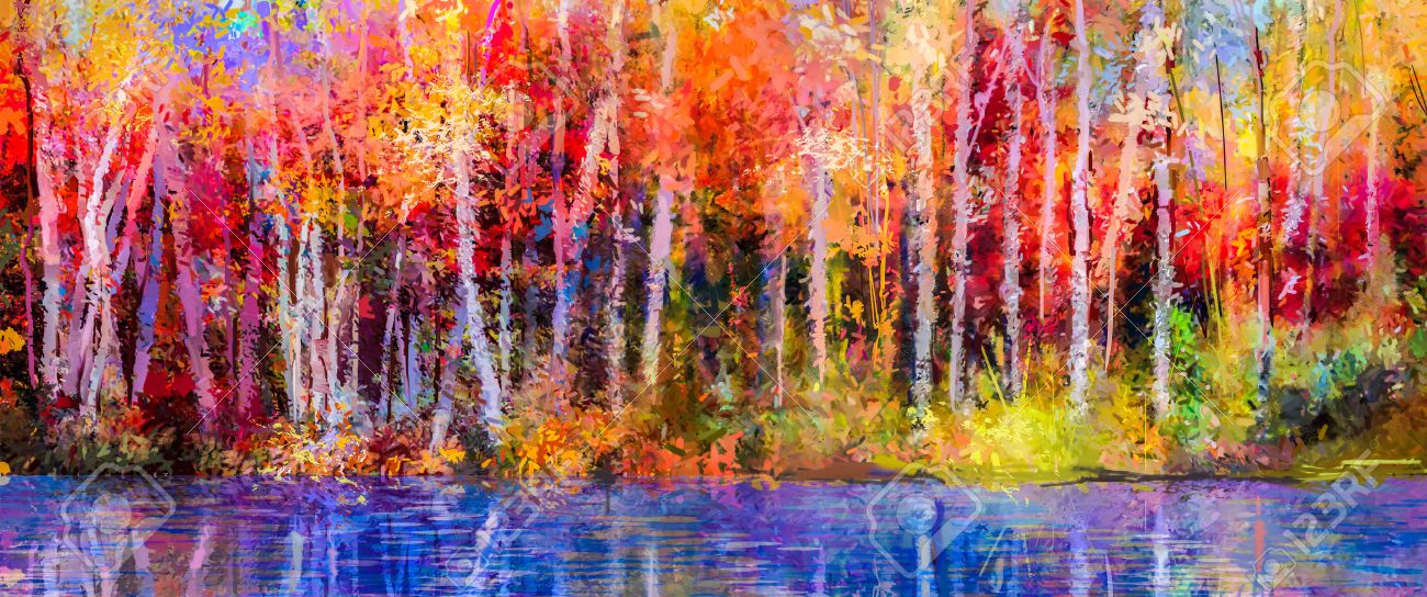 Oil painting colorful autumn trees. Semi abstract image of forest, aspen trees with yellow - red leaf and lake. Autumn, Fall season nature background. Hand Painted Impressionist, outdoor landscape. - 69707155