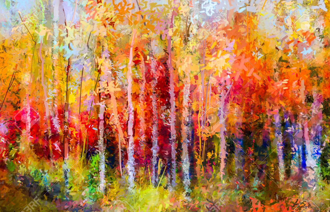 Oil painting landscape - colorful autumn trees. Semi abstract paintings image of forest, aspen tree with yellow and red leaf. Autumn, Fall season nature background. Hand Painted Impressionist, outdoor landscape. - 69741927