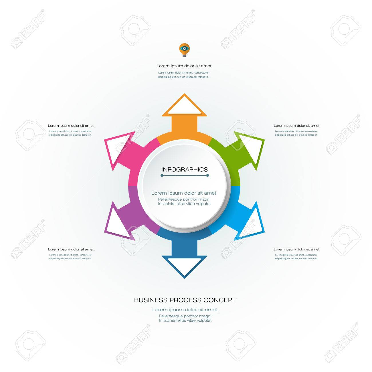 Vector Infographic 3D Circle Label Design Template With Arrows