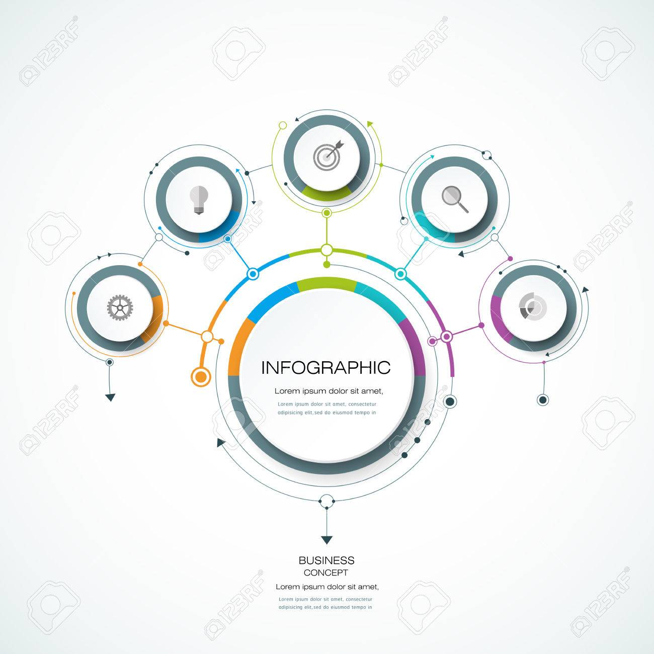 Vector Infographic 3D circle label design template with arrows sign and 5 options or steps. Infographics for business presentations or information banner, process diagram, flow chart, graph, scheme - 71188359