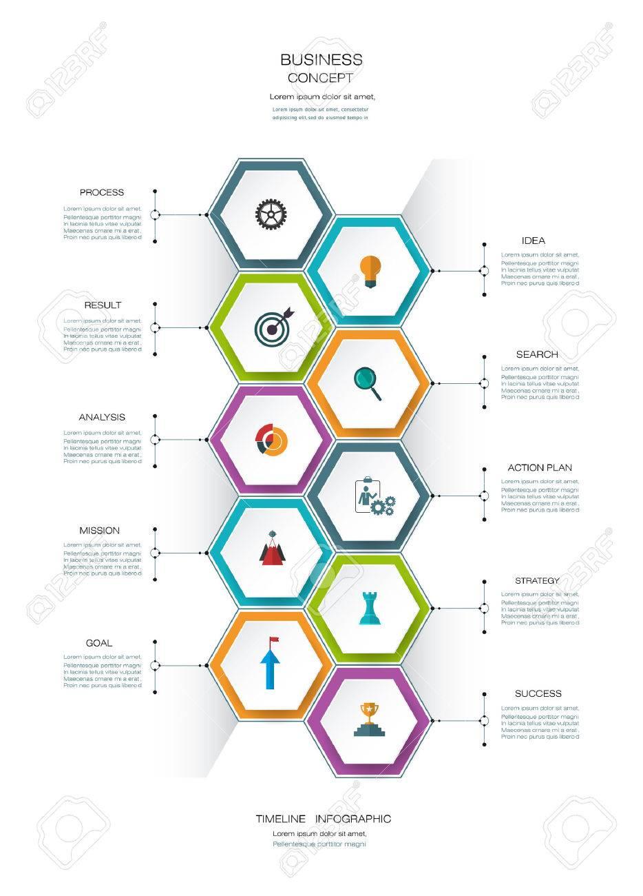 infographies vecteur Modèle de calendrier de conception avec lable papier 3D, hexagone intégré pour 10 étapes et l'icône. espace pour le contenu, les affaires, infographique, infograph, organigramme, diagramme de processus, ligne de temps, flux de travail Banque d'images - 71758617