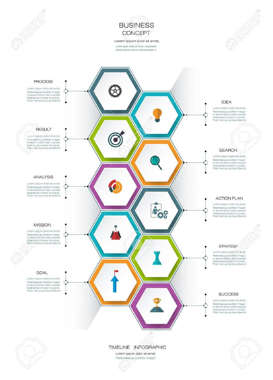 Vector infographics timeline design template with 3D paper lable, integrated hexagon for 10 steps and icon. Blank space for content, business, infographic,  infograph, flowchart, process diagram, time line, workflow Foto de archivo - 71758617