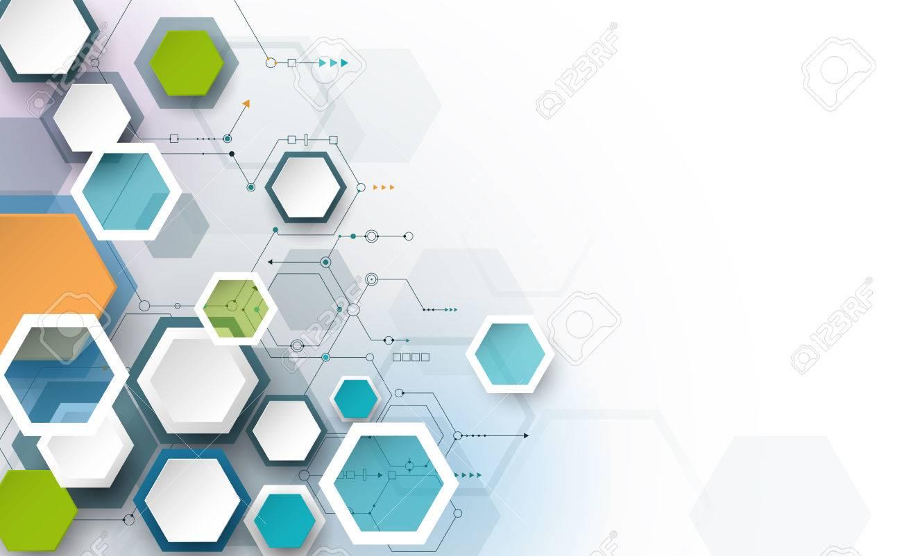 Circuito Y : Placa de circuito y d hexágonos fondo de papel tecnología de