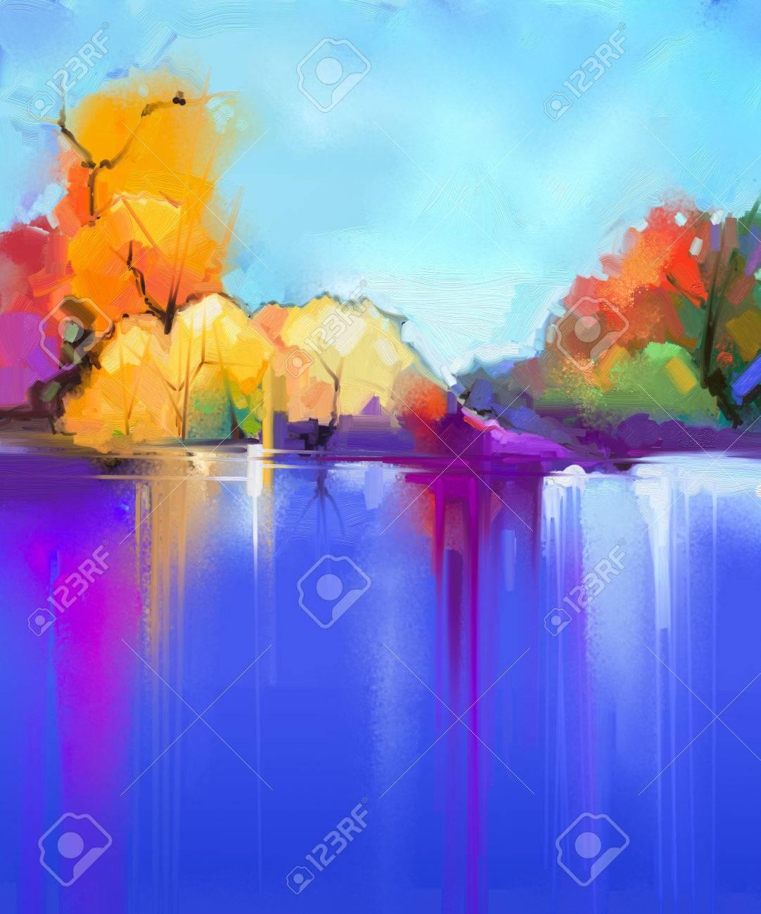 Fond De Paysage De Peinture à L'huile Abstraite. Ciel Bleu Et Violet  Coloré. Peinture à L'huile Paysages Extérieurs Sur Toile. Arbre Semi- abstrait Et Lac. Saison D'été, Fond De Nature Paysage Soleil Banque